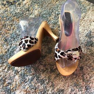 Dr scholls calf hair leopard print wooden heels